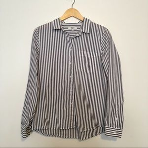 Madewell Grey and White Stripe Button Down